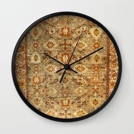 Antique Turkish Oushak Rug Print Wall Clock