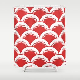 Japanese Fan Pattern Red Shower Curtain