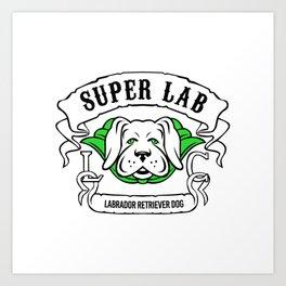 Super Labrador Retriever Dog Wearing Green Cape Art Print