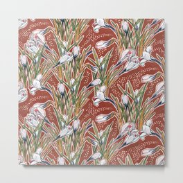 White Crocuses, Spring Flowers, Botanical Floral Pattern, Burnt Sienna Metal Print