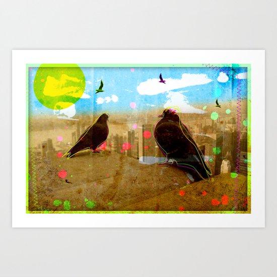 New York Pigeons Art Print