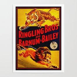 Vintage Circus Poster - Tiger & Lion Poster