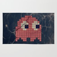 pac man Area & Throw Rugs featuring Pac-Man Pink Ghost by Psocy Shop