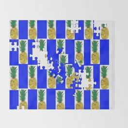 Pine Apple Jig Saw Puzzle Throw Blanket