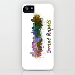 Grand Rapids skyline in watercolor iPhone Case