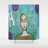hero Shower Curtains featuring Hero by Leanne Schuetz Mixed Media Artist