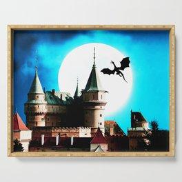 dragon flying in big moon Serving Tray