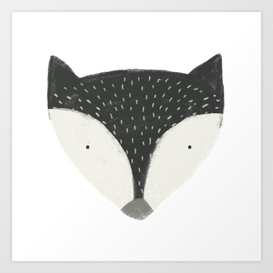 fox in black Art Print