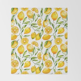 lemon watercolor print Throw Blanket