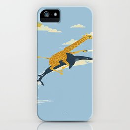Giraffe riding shark iPhone Case