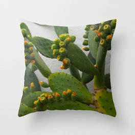 Artsy Cactus Flowers Throw Pillow