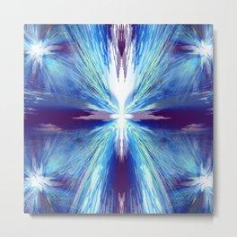 Flashing Blue Star Metal Print