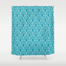 Rainbow Scallop Pattern Turquoise Shower Curtain