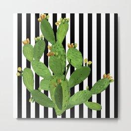 stripe succulent Plants Metal Print