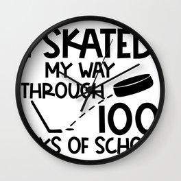 One Hundred Days of School Hockey I Skated Through 100 Days of School Wall Clock