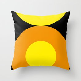 Two suns, one yellow with orange rays,the other orange with yellow rays,both floating in a black sky Throw Pillow