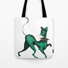Green Spotted Kitty Tote Bag