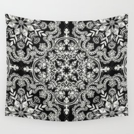 Black & White Folk Art Pattern Wall Tapestry