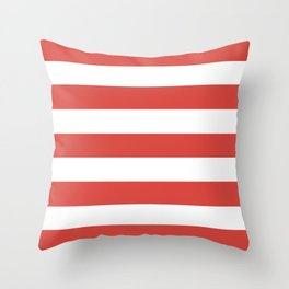 Strawberry Daiquiri - solid color - white stripes pattern Throw Pillow