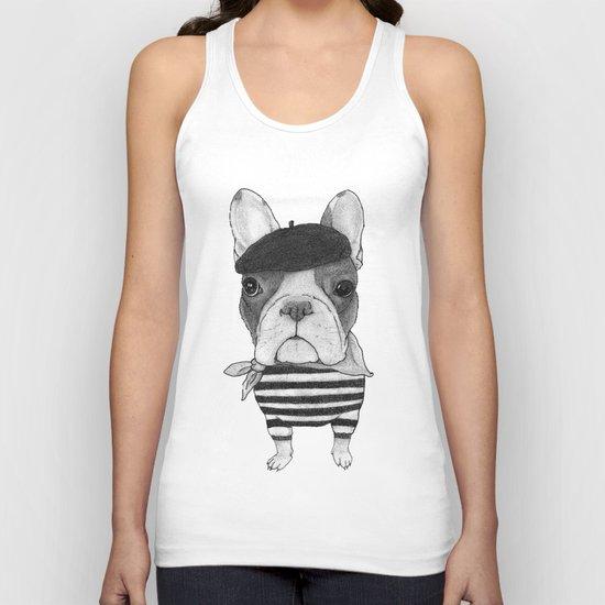 French Bulldog. (black and white version) Unisex Tank Top