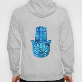 Hamsa Hand Magic Eye Blue Watercolor Art Hoody