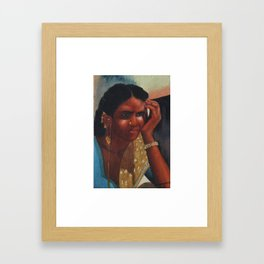 Thinking Deep, Indian Women - in Watercolor Framed Art Print