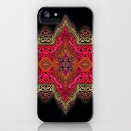 Elegant wavy pink stripes on black iPhone Case