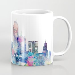 Blue Watercolor Dallas skyline design Coffee Mug