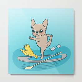 Frenchie practices her yoga poses on a stand-up paddle board Metal Print