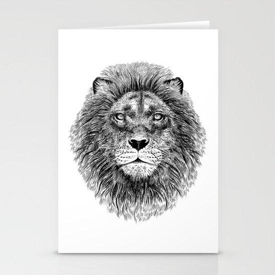 Black+White Lion Stationery Cards
