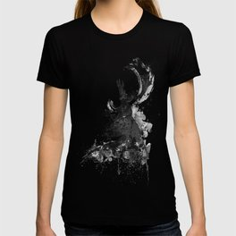 Deer Head Watercolor Silhouette - Black and White T-shirt