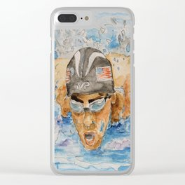 Michael Phelps Swimmer Clear iPhone Case