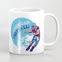 nfl Mugs featuring American Football  by MaNia Creations