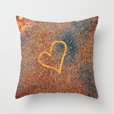 Rusted Heart Throw Pillow