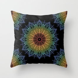 Bohemian Rainbow Mandala Zen Spiritual Hippie Festival Yoga Mantra Meditation Throw Pillow