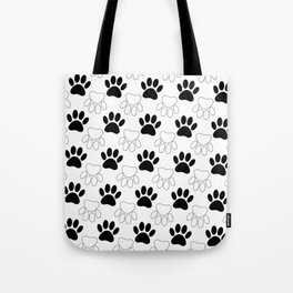Black And White Dog Paw Print Pattern Tote Bag