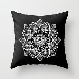 White Mandala On Black Throw Pillow