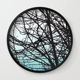 Trees Color Fade Blue Wall Clock