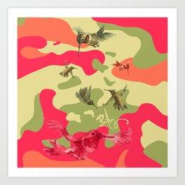 Charming Camo: Hummingbird Camouflage Art Print