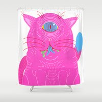 cyclops Shower Curtains featuring Cyclops by Madelen Foss