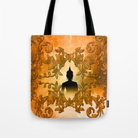 buddha Tote Bags featuring Buddha  by nicky2342