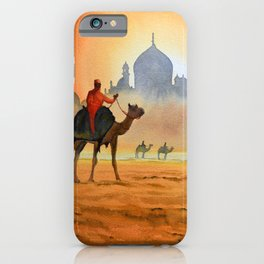 Camel Riders Alongside the Taj Mahal iPhone Case