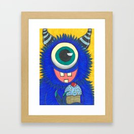 Monster and his cupcake Framed Art Print