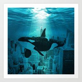 Orcas in Manhattan Art Print
