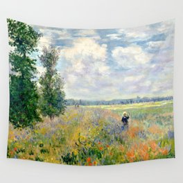 Poppy Fields near Argenteuil by Claude Monet Wall Tapestry
