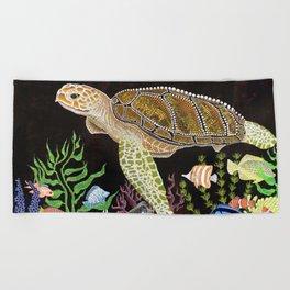 Sea Turtle, Reef Fish Beach Towel