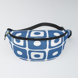 Mid Century Square Dot Pattern Blue Fanny Pack