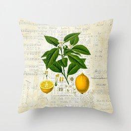 Lemon Botanical print on antique almanac collage Throw Pillow