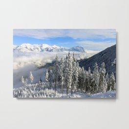 Italian Alps Snow Covered Landscape Metal Print
