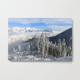 Italian Alps Snow Covered Landscape Metal Print